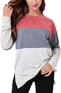 DREAM SLIM-Womens Color Block Pullover sweatshirt Long Sleeve Patchwork Loose Fit Tunic Shirts Tops Blouses