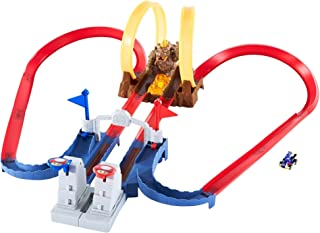 Hot Wheels Mario Kart Bowser's Castle Chaos Modular Track with Side by Side Racing Lap Flags and Bowser Figure Connects to...