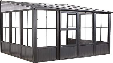 Sojag Outdoor 10' x 13' Charleston Solarium Wall-Mounted Sunroom with Mosquito Nets, Dark Grey