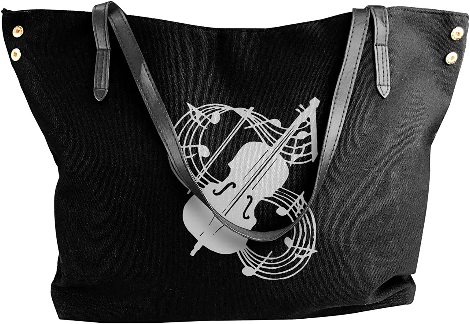 Athletic Musical Note Women'S Casual Canvas Shoulder Bag For Shopping Big Shopping Bag