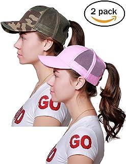 Alljoin Ponytail Messy Buns Trucker Ponycaps Plain Baseball Visor Cap Dad Hat