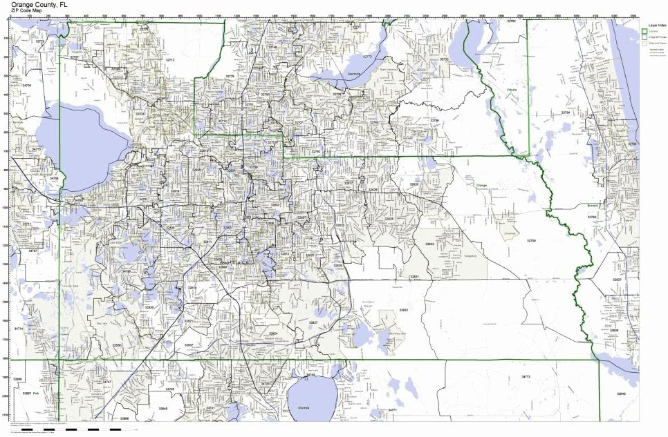 Orange County Florida FL ZIP Cheap mail order Ranking integrated 1st place shopping Map Not Code Laminated