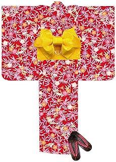 浴衣 こども 女の子 浴衣 セット 110 紅型風 子供浴衣 作り帯 下駄 3点セット「赤 笹と梅」BIN-11-CA-setC
