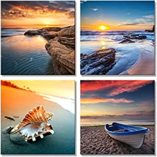 Pyradecor Sunset Sea Beach Modern Seascape Pictures Paintings on Canvas Wall Art 4 Panels Stretched and Framed Giclee Canvas Prints Artwork for Living Room Bedroom Home Office Decorations