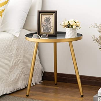 Round Side Table, Metal End Table, Nightstand/Small Tables for Living Room, Accent Tables Cheap, Side Table for Small Spaces,Gold & Gray by Aojezor