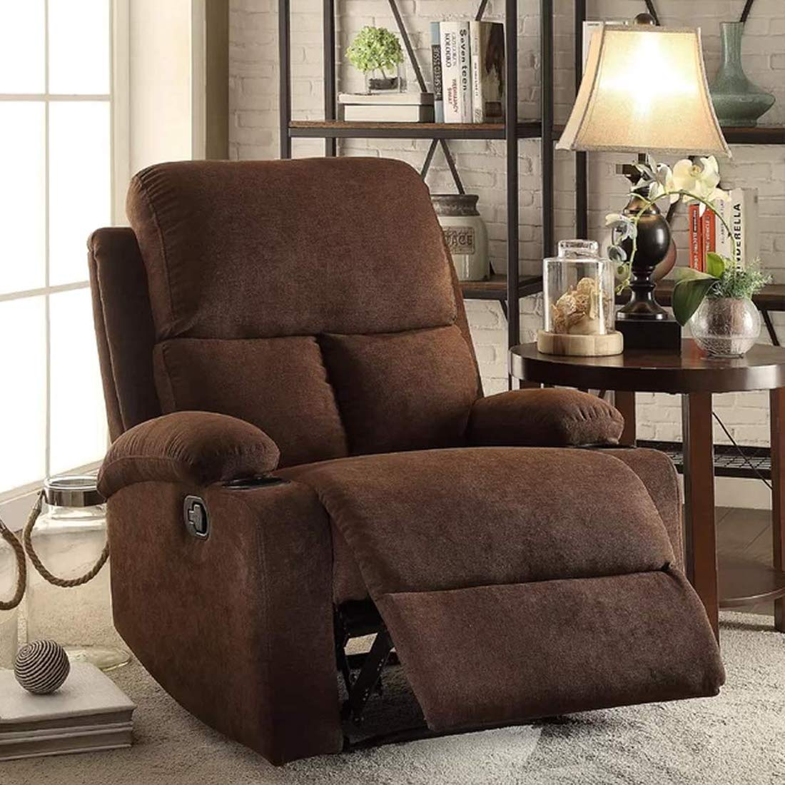 Furny Elisse One Seater Living Room Single Seater Recliner  Brown  Manual Recliner with German Recliner Mechanism Recliners