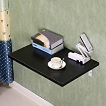 Yxsd Folding Table Wall Table Wall Hanging Dining Table Computer Desk Foldable Writing Desk Kitchen Balcony Table, Black,S...