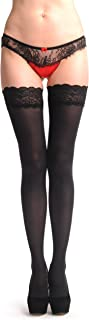 Black Luxurious Hold Ups With Floral Silicon Lace 60 Den - Hold Ups
