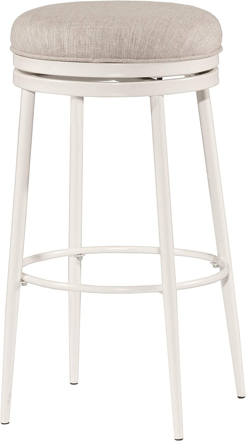 Hillsdale Furniture 4556-828 Aubrie Swivel Backless, White Counter Stool, Height