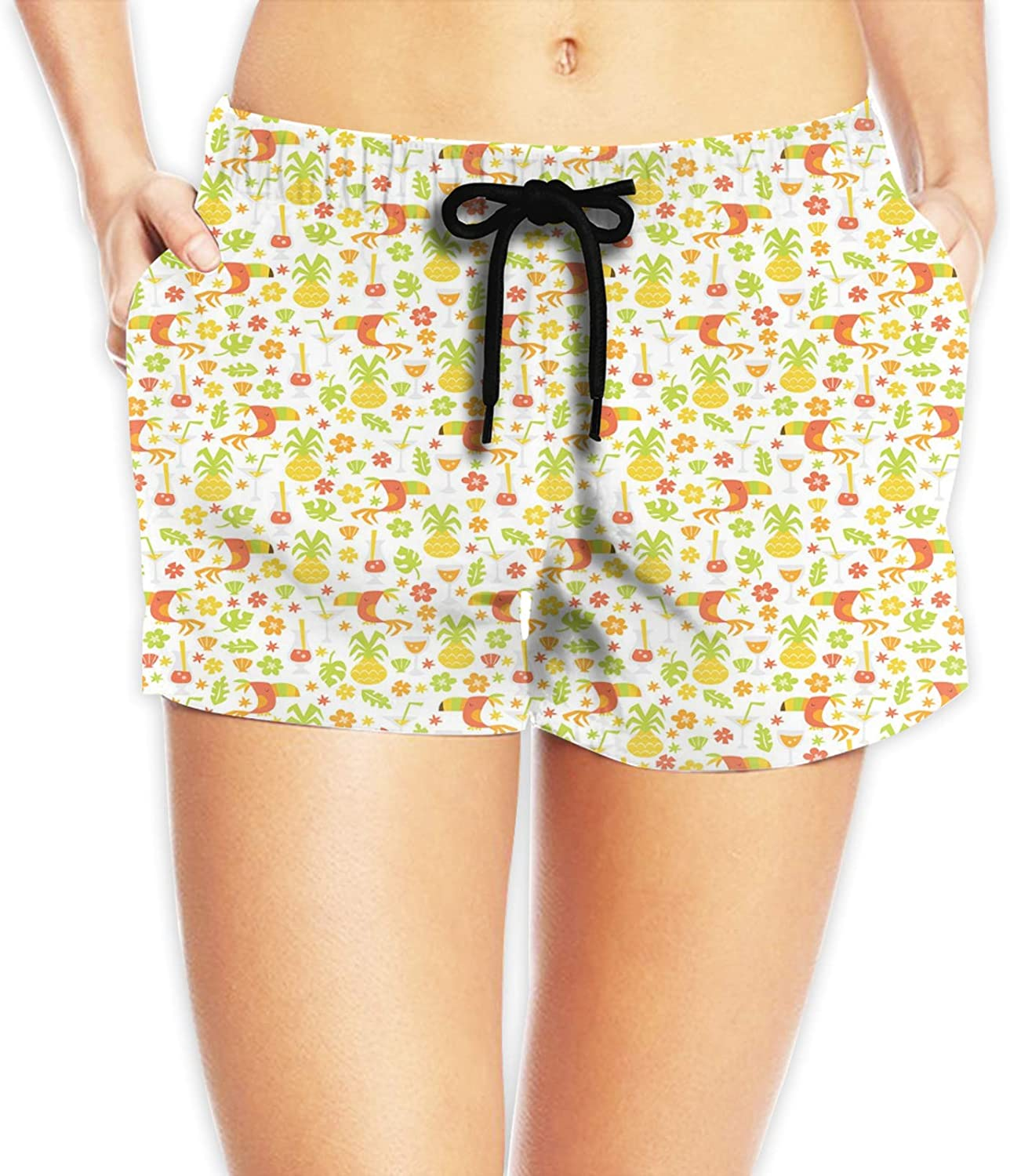 Women's Waistband Swimsuit Bottom Boy Shorts Swimming Panty,Tropical Birds and Trees Plants Leaves Flowers Nature Party Theme