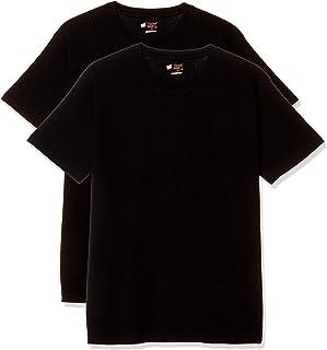 [ヘインズ] 【アマゾン別注】 Tシャツ ジャパンフィット Japan Fit クルーネック 丸首 黒 2枚組 綿100% 透けにくい 5.3オンス メンズ