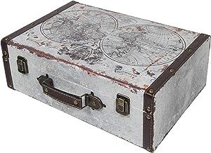 HMF 6430-138 vintage drewniana walizka | 38 x 26 x 13 cm | duża | mapa świata