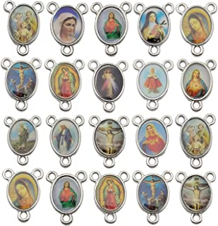 60pcs Antique Silver Picture Jesus Enamel Our Lady Miraculous Medal Floral Rosary Centerpiece Alloy Crucifix Cross Connector Mother's Day Pendants Charms for Jewelry Making M220