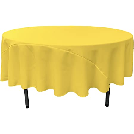 Tablecloth 90 inch Round Solid Polyester Table Cloth Party Kitchen Dining Yellow