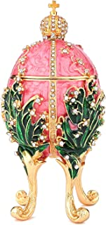 QIFU-Hand Painted Enameled Faberge Egg Decorative Hinged Jewelry Trinket Box Unique Gift for Home Decor (Pink)