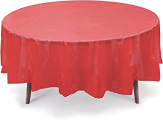 """12 Pack 84"""" Round Plastic Table Cover, Plastic Table Cloth Reusable (PEVA) (Red)"""