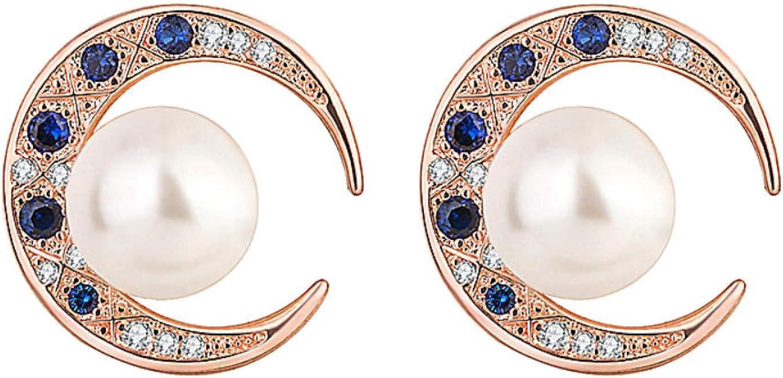 Women's Fashion Jewelry Sets,Women Rhinestone Faux Pearl Moon Pendant Necklace Bracelet Ring Earrings Jewelry
