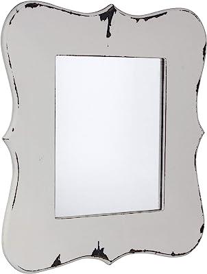 Stonebriar Decorative Worn White Wooden Hanging Wall Mirror