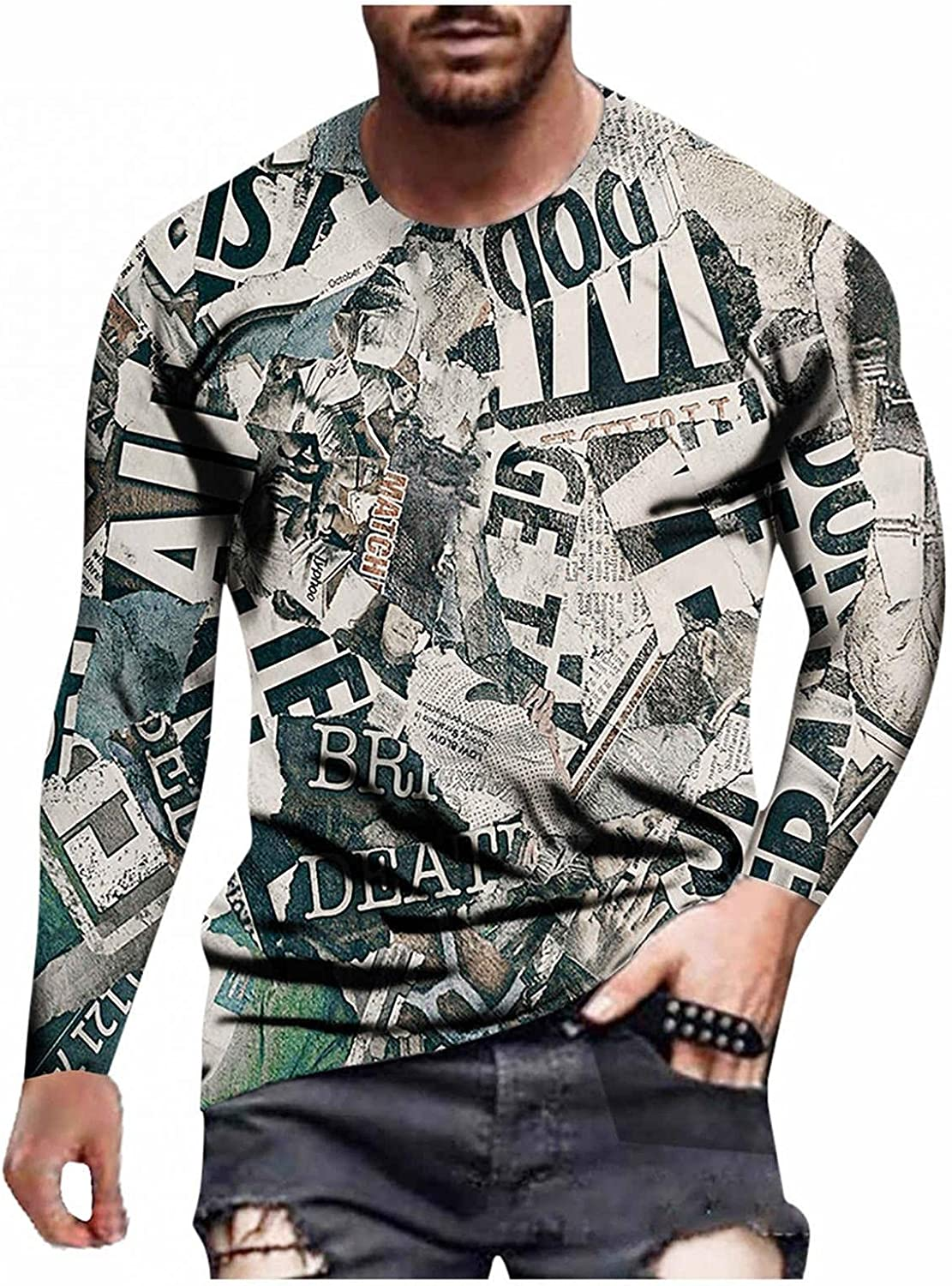 Aayomet Long Sleeve Tee Shirts for Men Pattern Print Streetwear Tops Bodybuilding Muscle Fashion Casual Pullover Shirts