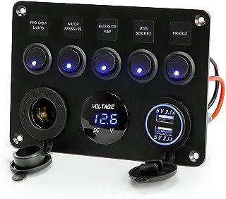 Wshxl 5 Schalter Panel mit Dual USB Ladegerät 4.2A +Wasserdicht LED Voltmeter Spannungsmesser 12V +Zigarette Sockel für 12 V ~ 24V Auto Boot Marine LKW SUV Baufahrzeug (Blau)
