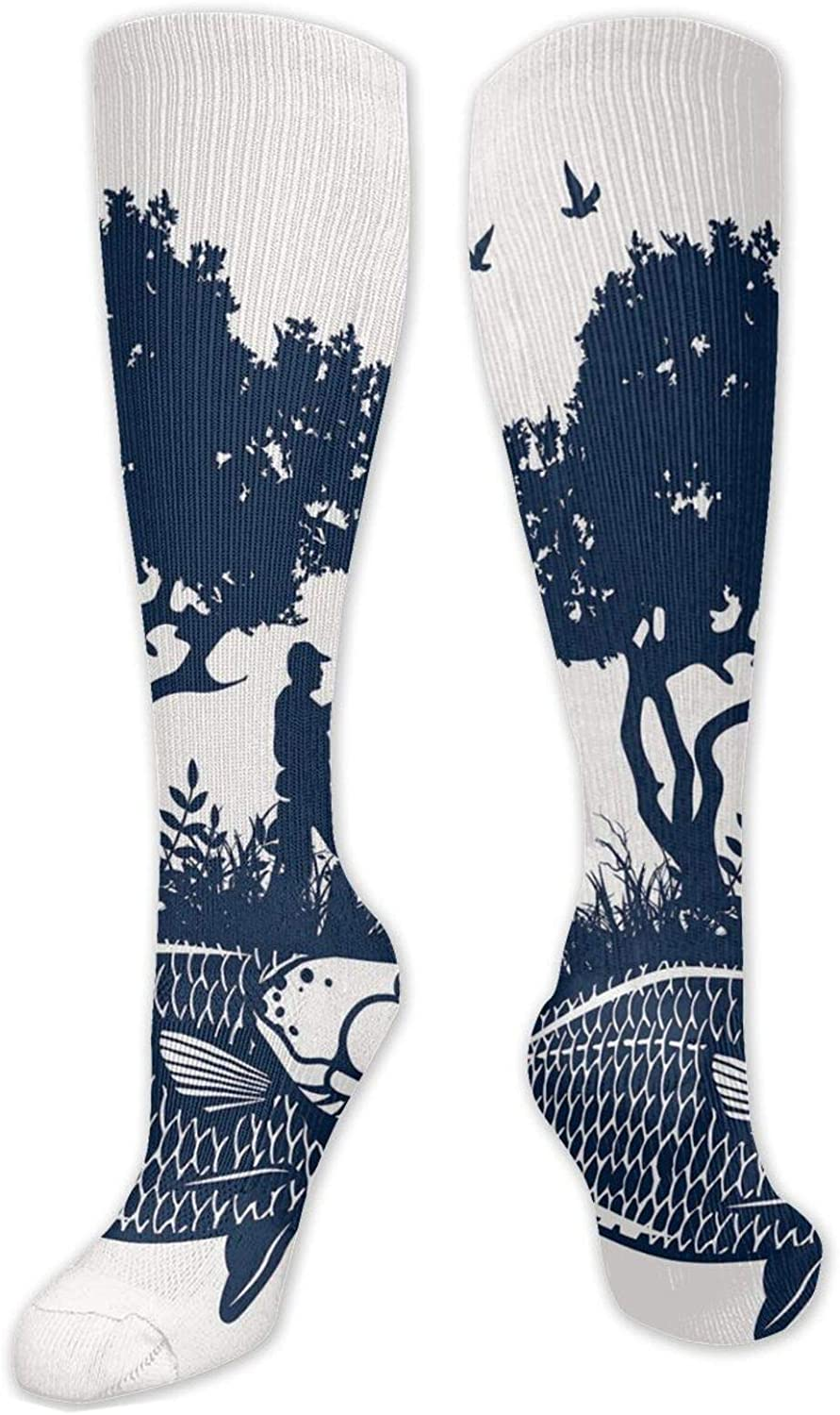 Compression High shopping Socks Abstract Graphic Bombing free shipping And Man Tree Of Silhouet