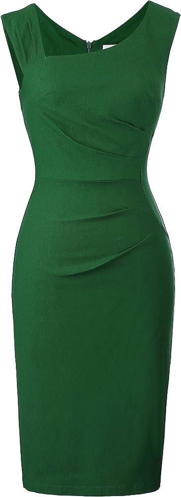 Belle poque elegante abito da donna vintage senza maniche 74% rayon 24 4% poliammide 1 6% elastan BP000302-4_S@#LQRYM