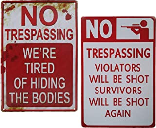 Saukore 2 Pack No Trespassing Metal Tin Sign Vintage Bar Decor Yard Warning Signs Halloween Home Wall Decor Outdoor Decora...