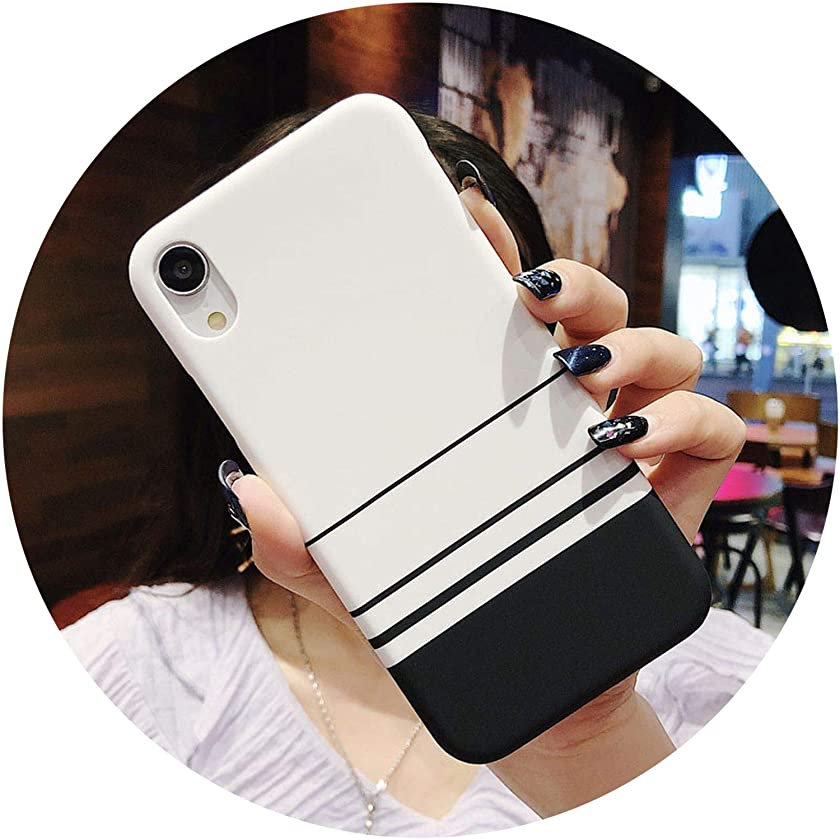 Hard PC Phone Case for iPhone Xs Max XR X 7 8 6 6S Plus 5 Couples Simple Grid Stripe Black White Phone Back Cases Cover,2358,for iPhone XR