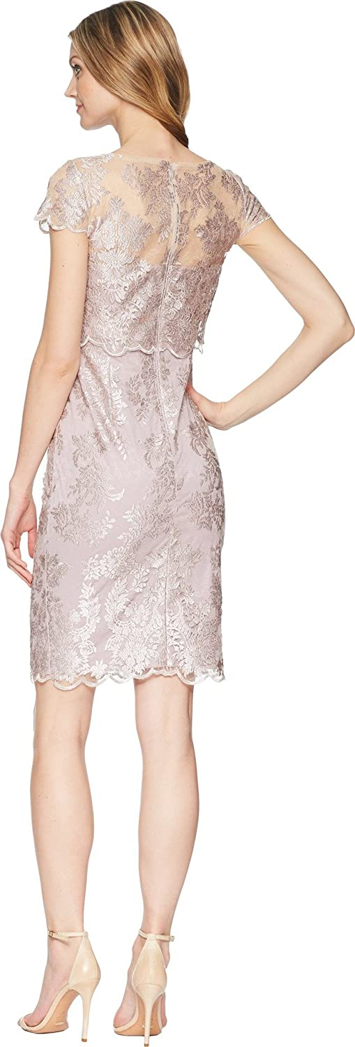 Adrianna Papell Women's Short Metallic Embroidered Popover Dress
