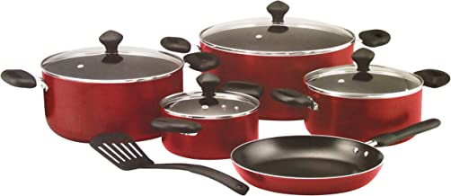 Prestige Aluminum Cookware Set of 10-Piece, Red PR21700