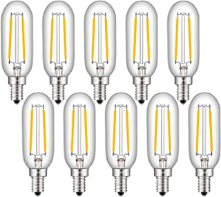 OMAYKEY 2W LED Candelabra Bulbs 25W Equivalent 3000K Soft White 250 Lumens, E12 Base Antique T25 Mini Tubular Clear Glass LED Chandelier Light Bulb, Non-dimmable, Pack of 10