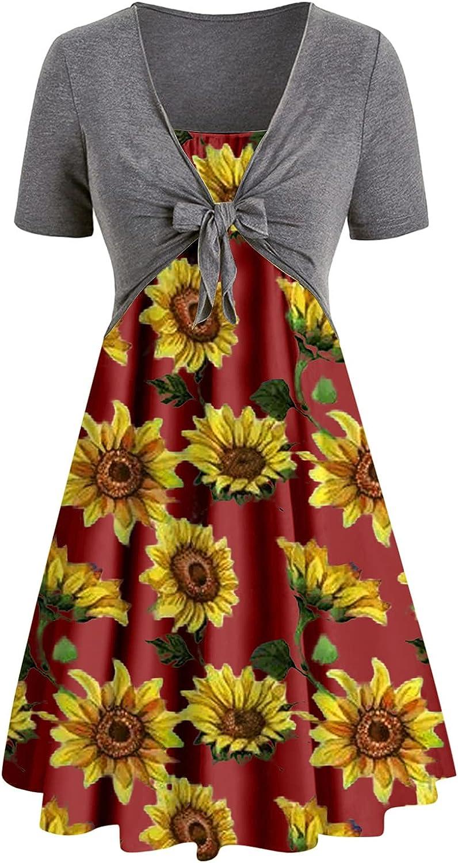 KYLEON Dress for Women Summer Floral Bohemian Sunflower Print Sundress Set 2 Piece Outfit Wrap Mini Short Swing Dress