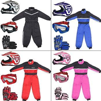 + Gafas 5-6 A/ños + Camo Traje de Motocross para Ni/ños Leopard LEO-X16 Negro Casco de Motocross para Ni/ños Guantes S S 5cm S 49-50cm