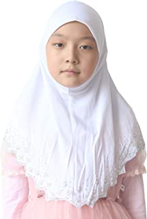 Modest Beauty Girls/Children Hijab Scarf Headscarf Wrap one Piece Muslim Amira with Czech Drill