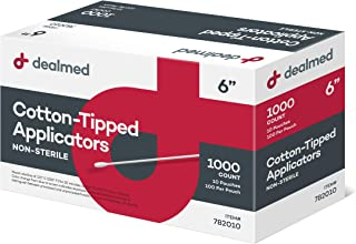 Dealmed Cotton Tipped Applicator with Wooden Shaft, 6 inches, 1000 Per Box