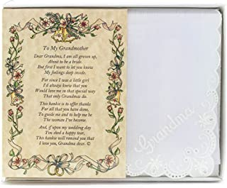 Wedding Handkerchief Poetry Hankie (for Bride's Grandmother) White, Lace Embroidered Bridal Keepsake, Beautiful Poem | Long-Lasting Memento for The Bride's Grandma | Includes Gift Storage Box