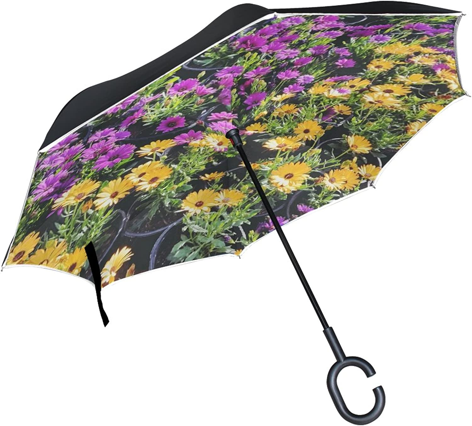 Double Layer Ingreened Spring Flowers Pink Yellow colors Umbrellas Reverse Folding Umbrella Windproof Uv Predection Big Straight Umbrella for Car Rain Outdoor with CShaped Handle
