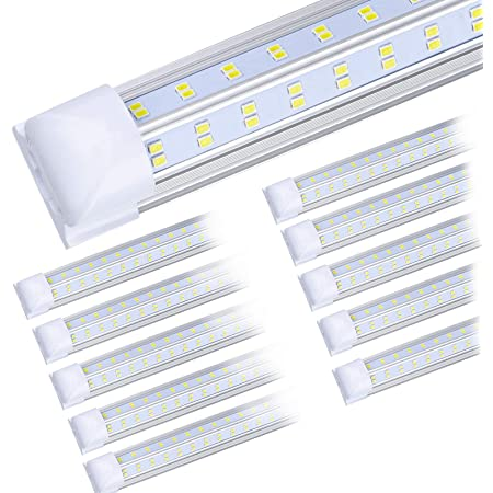 (10-Pack) 8ft LED Shop Light Fixture, 92W 13500LM 6000K, Cold White, V Shape, Clear Cover, Hight Output, Linkable Shop Lights, T8 LED Tube Lights, LED Shop Lights for Garage 8 Foot with Plug