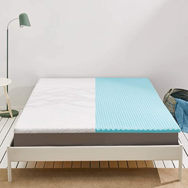 Bedsure 2 Inch Memory Foam Mattress Topper Queen Egg Crate Mattress Pad With Removable And Washable Cover Pressure Alleviation Bed Topper CERTIPUR US Oeko Tex