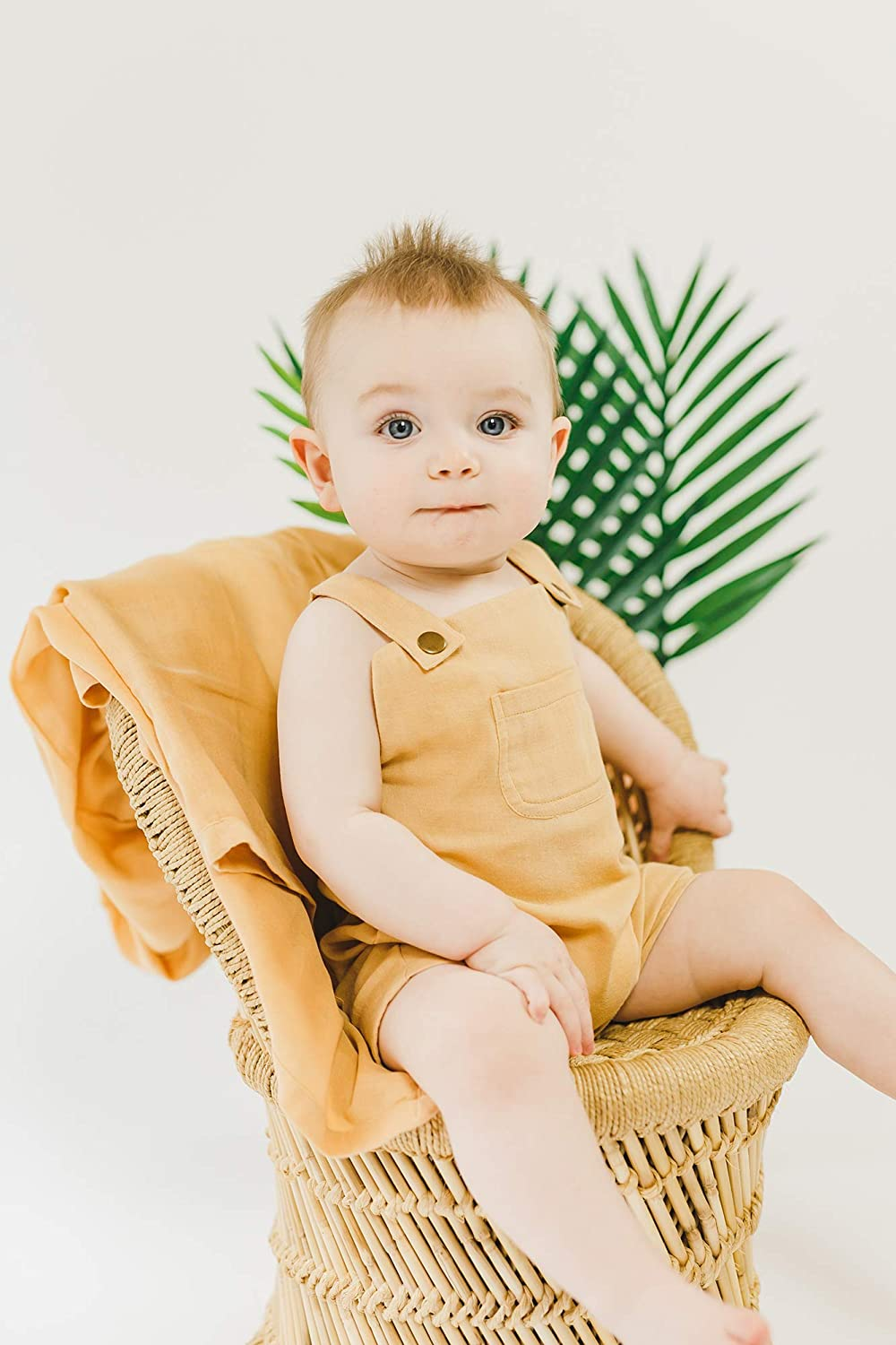 The Muslin Collection L/'ovedbaby Baby Boy or Girl Organic Muslin Overall Shorts