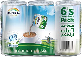 Rainbow Cardamom Vitamin D Convenience Pack Evaporated Liquid Milk - 6 x 170 gm