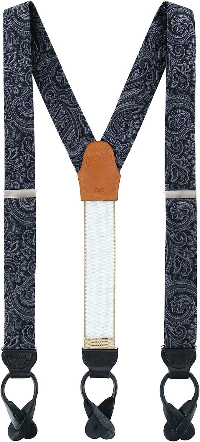 Edwardian Men's Fashion & Clothing 1900-1910s Trafalgar Mens Sobee Silk Button End Braces (Suspenders)  AT vintagedancer.com