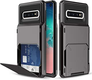 Galaxy S10 Case, Elegant Choise Wallet Design (Up to 4 Cards) with Large Capacity Card Slot Holder Dual Layer Shockproof Full Body Protection Bumper Case Cover for Samsung Galaxy S10 (Black)