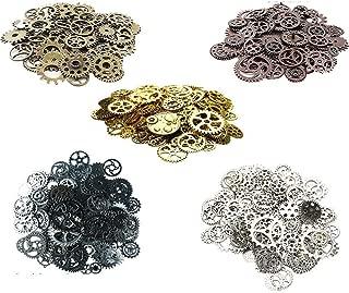Awtlife 300 Gram Assorted Vintage Antique Steampunk Gears Charms Watch Cog Wheel Sets 5 Color