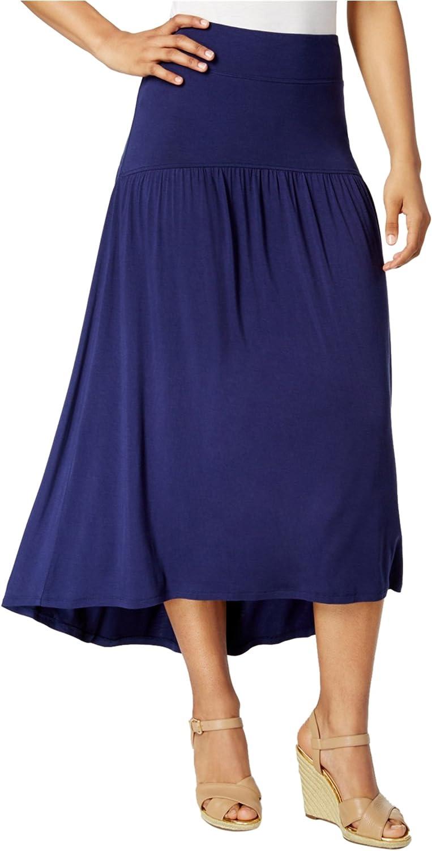 G.H. Bass & Co. Women's Solid Midi Hi Lo Skirt (Navy, Medium)