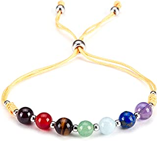 "Cherry Tree Collection Natural Gemstone Chakra Bracelet | Adjustable Size Nylon Cord | 6mm Beads, Silver Spacers | 5""-6.5""..."