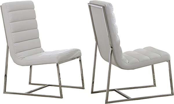 Best Master Furniture GW119 Gunnar Modern Leather Match Dining Chairs Set Of 2 White Stainless