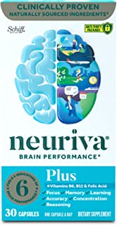 Brain Support Supplement - NEURIVA Plus (30 count in a bottle), Plus B6, B12 & Folic Acid, Supports 6 Indicators Of Brain ...