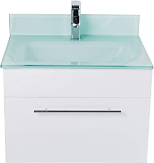 LV-1040W Wall Mount Modern White Bathroom Vanity with Glass Sink, Backsplash, Soft Closing Drawer