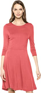 Lark & Ro Amazon Brand Women's Three Quarter Sleeve Knit Fit and Flare Dress